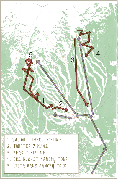 Map of Zipline course at Breckenridge Resort