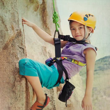 Child on rockclimbing wall at Vail Resort